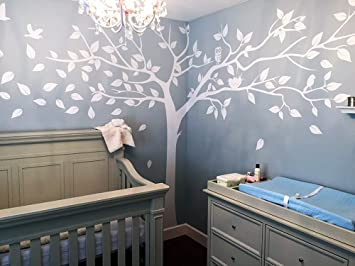 PopDecors   Super Big Tree White 133inch W   Beautiful Tree Wall Decals For  Kids