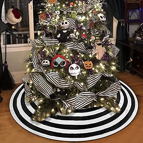 Ivarunner Black and White Lollipop Halloween Tree Skirt,Circles Annual Ring Tree Skirt 36'',Xmas Tree Mat for Holiday Party Christmas Halloween Home Decoration