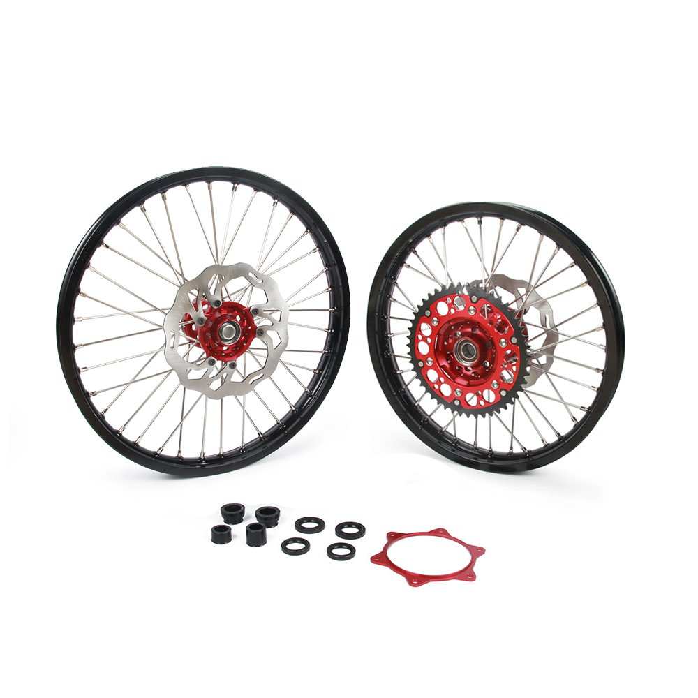 JFG RACING 1.6x21'' 1.85x19'' Wheels Rims Hubs Spokes 260mm Front Rear Brake Disc 48T Rear Sprocket and Spacer Raiser Set - Honda CRF250R 15-17 CRF450R 15-17