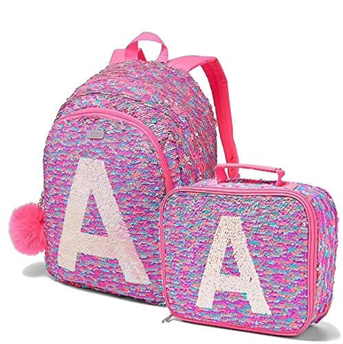 Justice Set of 2, School Backpack & Lunch Tote Bag Flip Sequin Fearless Shaky Initial (letter A)