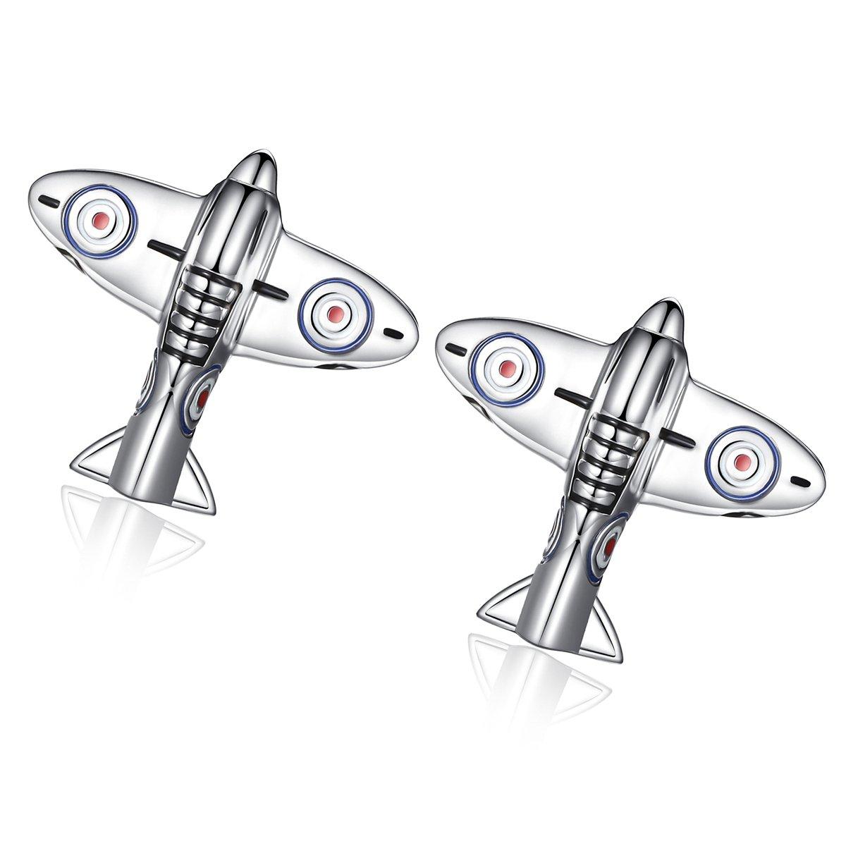 Honey Bear Wwii Fighter Plane Cufflinks - Silver , Stainless Steel , Wedding Gift Kardex 5701000167