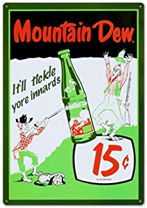 Mountain Dew Soda 15 Cents Tin Sign 12 x 17in