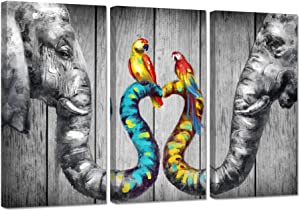 ZingArts 3 Pieces Animal Picture Wall Art Abstract Elephants with Colorful Love Heart Birds on Grey Wooden Background Picture Painting for Home Bedroom Decor Stretched and Framed Ready to Hang