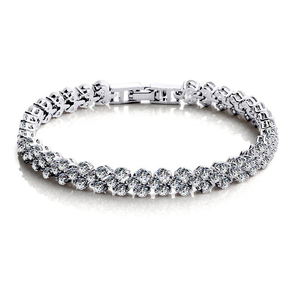 OPK Jewelry Platinum Plated Tennis Bracelet with SWAROVSKI Elements Cubic Zircons DS935-White 17cm