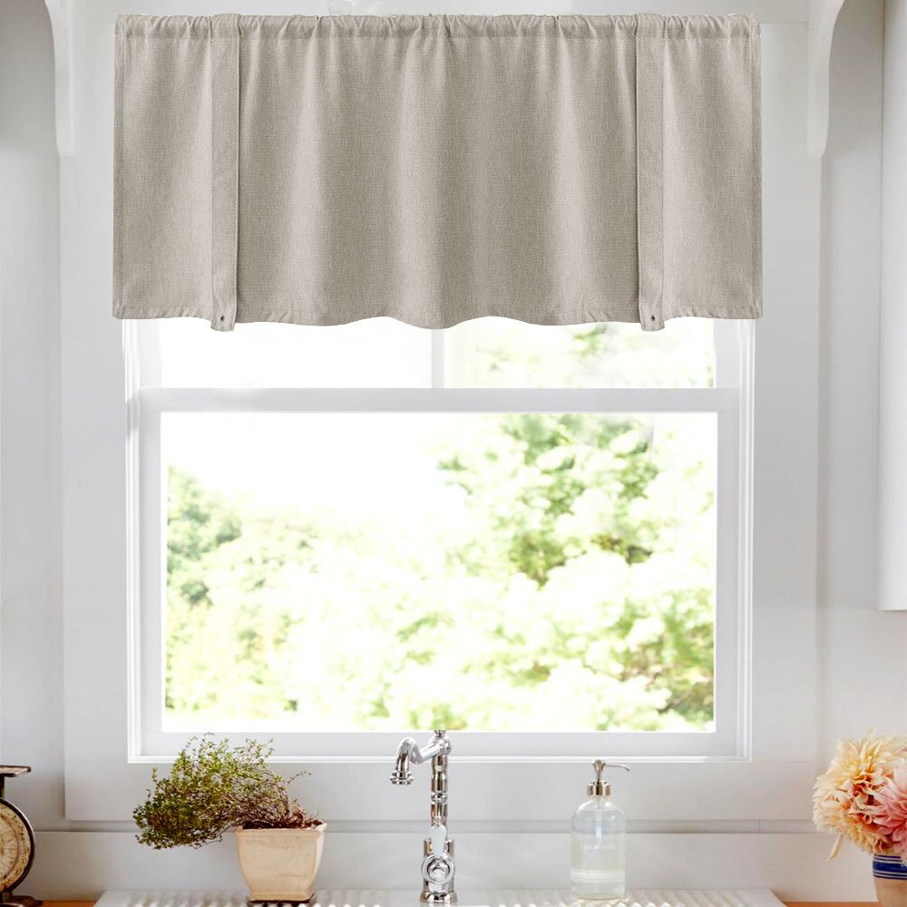 Tie-up Valances for Windows Linen Textured Room Darkening Adjustable Tie Up Shade Window Curtain Rod Pocket Tie-up Valance Curtains 18 Inches Long (1 Panel, Greyish Beige) by jinchan (Image #3)