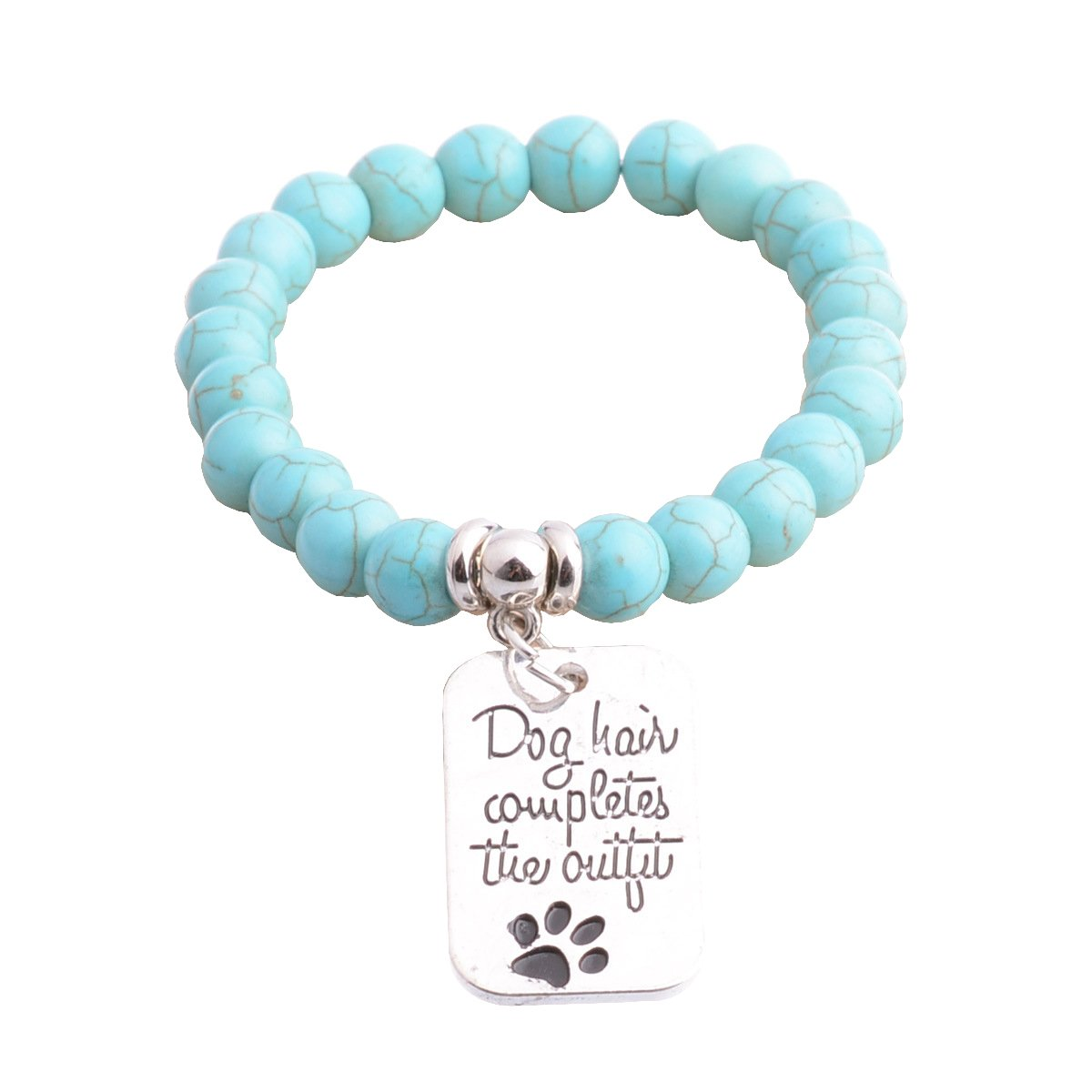 Vintage Lava Stone Healing Power Crystal Charm Elastic Stretch Turquoise Beaded Bracelets Love Dream LD-BA-01-0006