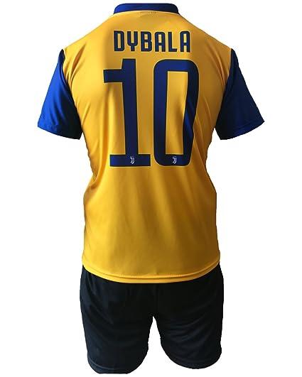 Conjunto Equipacion Pantalones Segundo Amarillo Futbol Juventus Gonzalo Higuain 9 Replica Autorizado 2017-2018 Niños