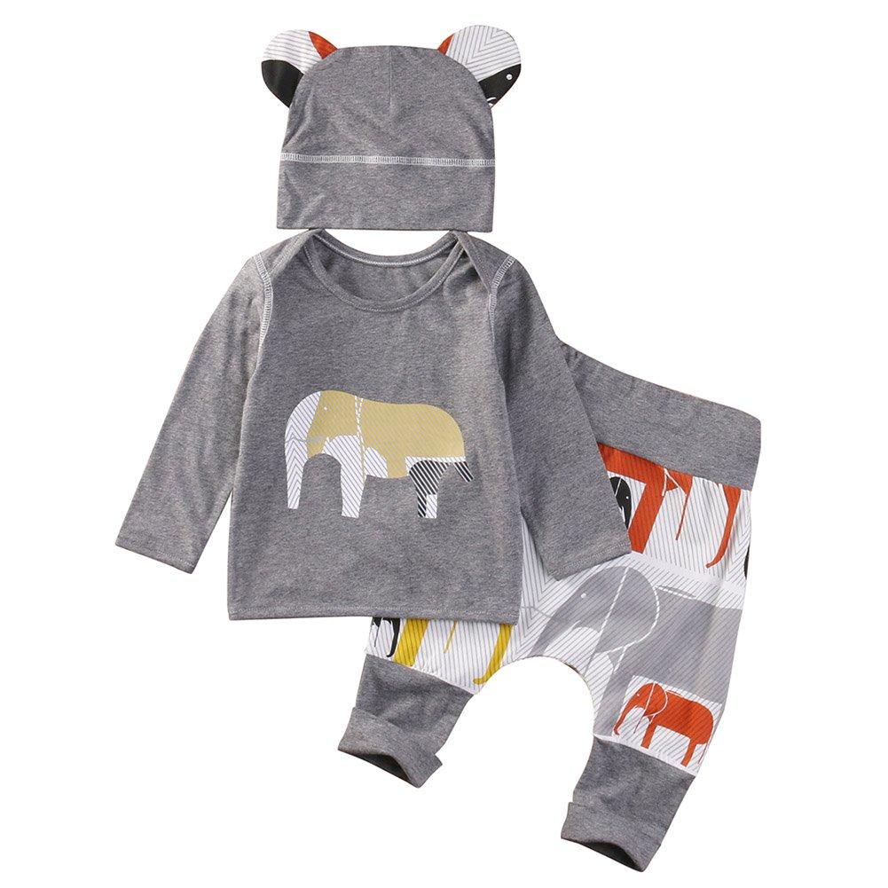 BOBORA Bambino ragazzi 3 pezzi autunno abbigliamento set elefante manica lunga camicia e pantaloni + Cappelli BON-IT-0764