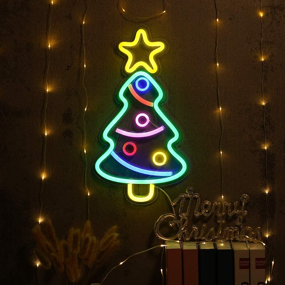 Xmas Tree Sign Neon, Festival LED Neon Light Wall Decor Art Neon Sign Light for Home Decoration,Bedroom, Lounge, Office, Wedding, Christmas, Valentine's Day Party Operated by USB