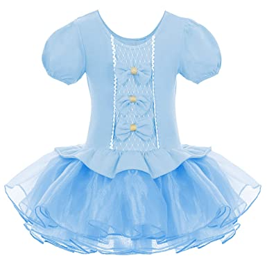 0bef234b1 Amazon.com  IWEMEK Girls Puff Sleeve Bowknots Tutu Ballet Dance ...