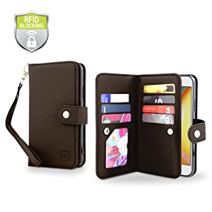 Gear Beast Flip Cover Dual Folio Case fits iPhone Xs/X Wallet Case Slim Protective Top Grain Leather Case 7 Slot Card Holder Including ID Holder 2 Inner Pockets Stand Feature Wristlet with RFID