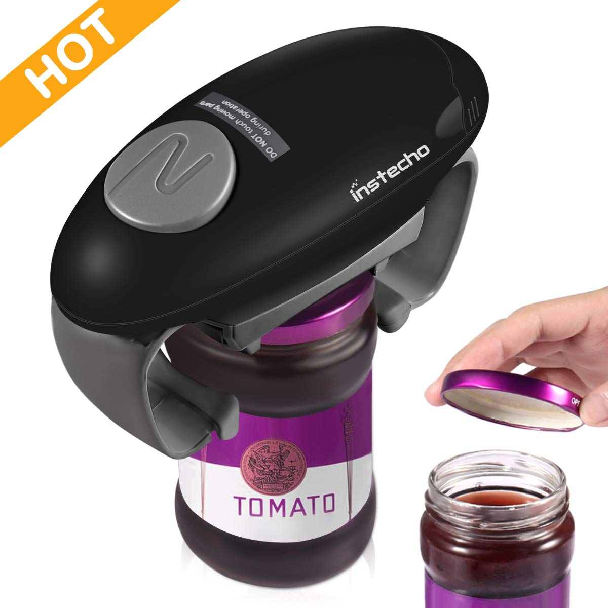 Automatic Jar Bottle Opener, Best Kitchen Tool For Women, Chef, Elderly and Arthritis Sufferers - Open any Jar or Bottle (Black-2019)