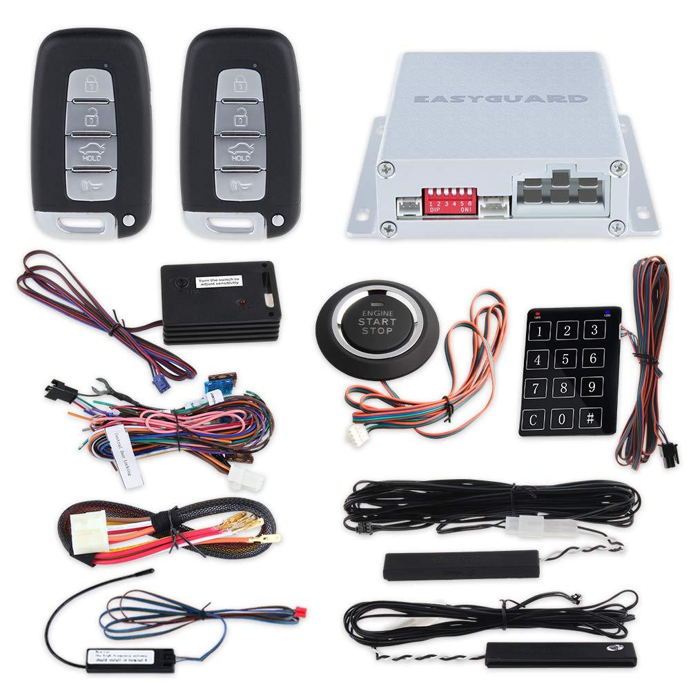 EASYGUARD EC002-K-NS intelligent car alarm kit with passive keyless entry automatically lock unlock car door remote start push start and touch password entry shock sensor Easyguard Electronics co. ltd