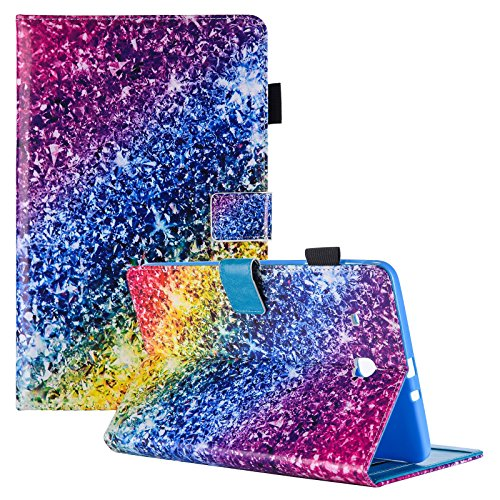 Galaxy Tab E 8.0'' Case, Samsung SM-T377a Case, Dteck Functional Flip Wallet Style Case with [Silicone Back Cover] for Galaxy Tab E 32GB SM-T378/Tab E 8.0 SM-T375/SM-T377,Colorful Diamond by Dteck