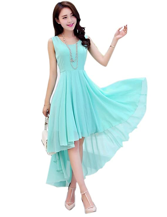 Dasior Womens A-Line High Low Summer Chiffon Beach Party Dress at Amazon Womens Clothing store:
