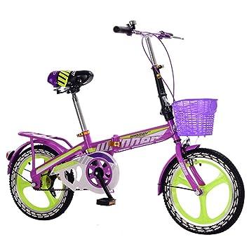 LETFF Bicicleta Plegable para Adultos 16 Pulgadas niño Estudiante niño y Bicicleta Mujer(Purple)