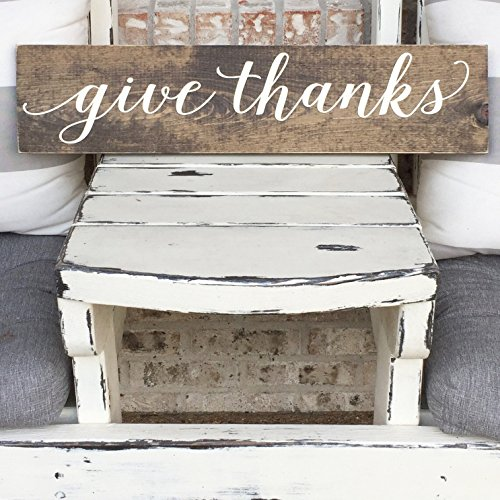 Give thanks - Autumn Home Decor - Wooden Sign - Rustic Sign - Arrow - Thanksgiving -