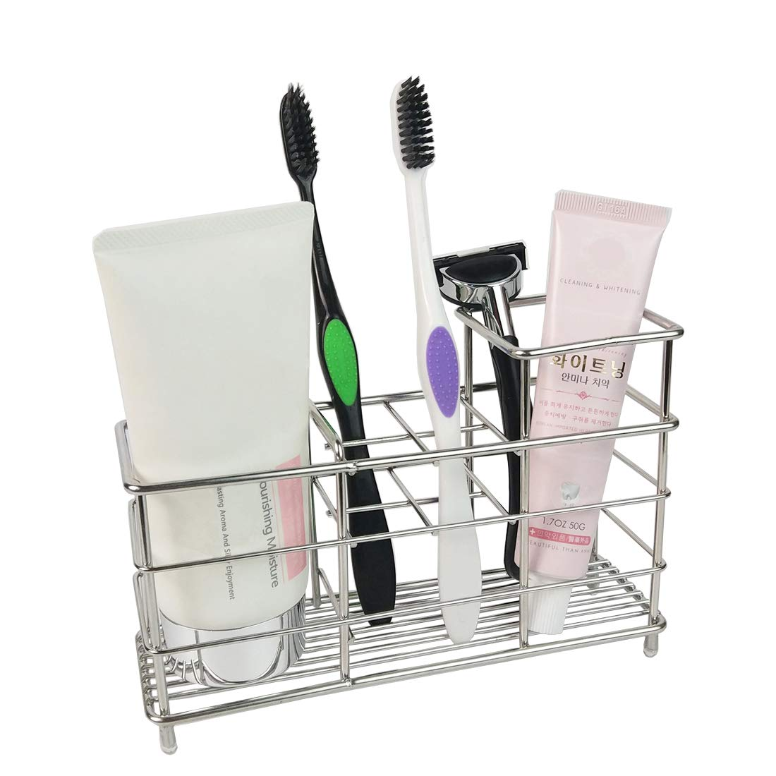 Kimiyoo Rustproof Bathroom Toothbrush Holder - Stainless Steel 6 Slots Razor Organizer Holder Stand, Multifunction Storage Rack for Electric Toothbrush, Toothpaste, Cleanser, Comb, Makeup Brush by Kimiyoo