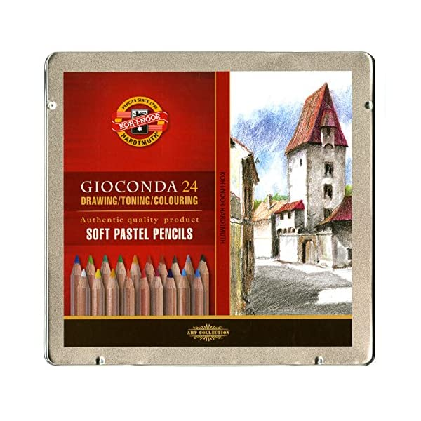 Koh-I-Noor-Gioconda-Soft-Pastel-Pencil-Set-24Each-Packed-in-Tin-Assorted-Colored-Pencils-FA882824