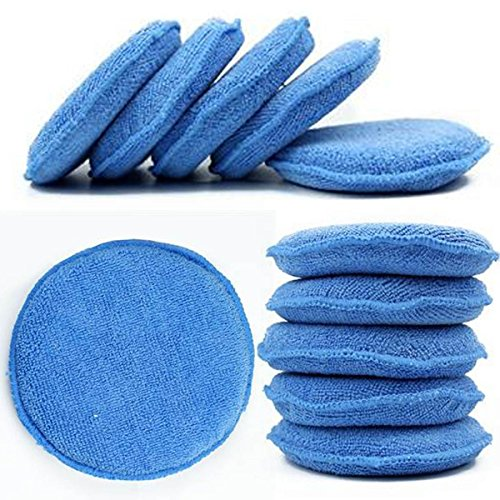 WINOMO Blue Microfiber Wax Applicator 10pcs Sponge Round Shaped Car Wax Sponge Pads Foam for Cars Vehicle Glass Clean (Best Car Valeting Products)