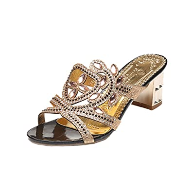 2d8a6dd4af7f ... Girl Big Hollow Rhinestone Sandals Ladies Sparkling Slipper Blue Black  Green Gold Summer 36~39Plus Size High Purple Mary Janes Gold Trainers Wedge  Heels