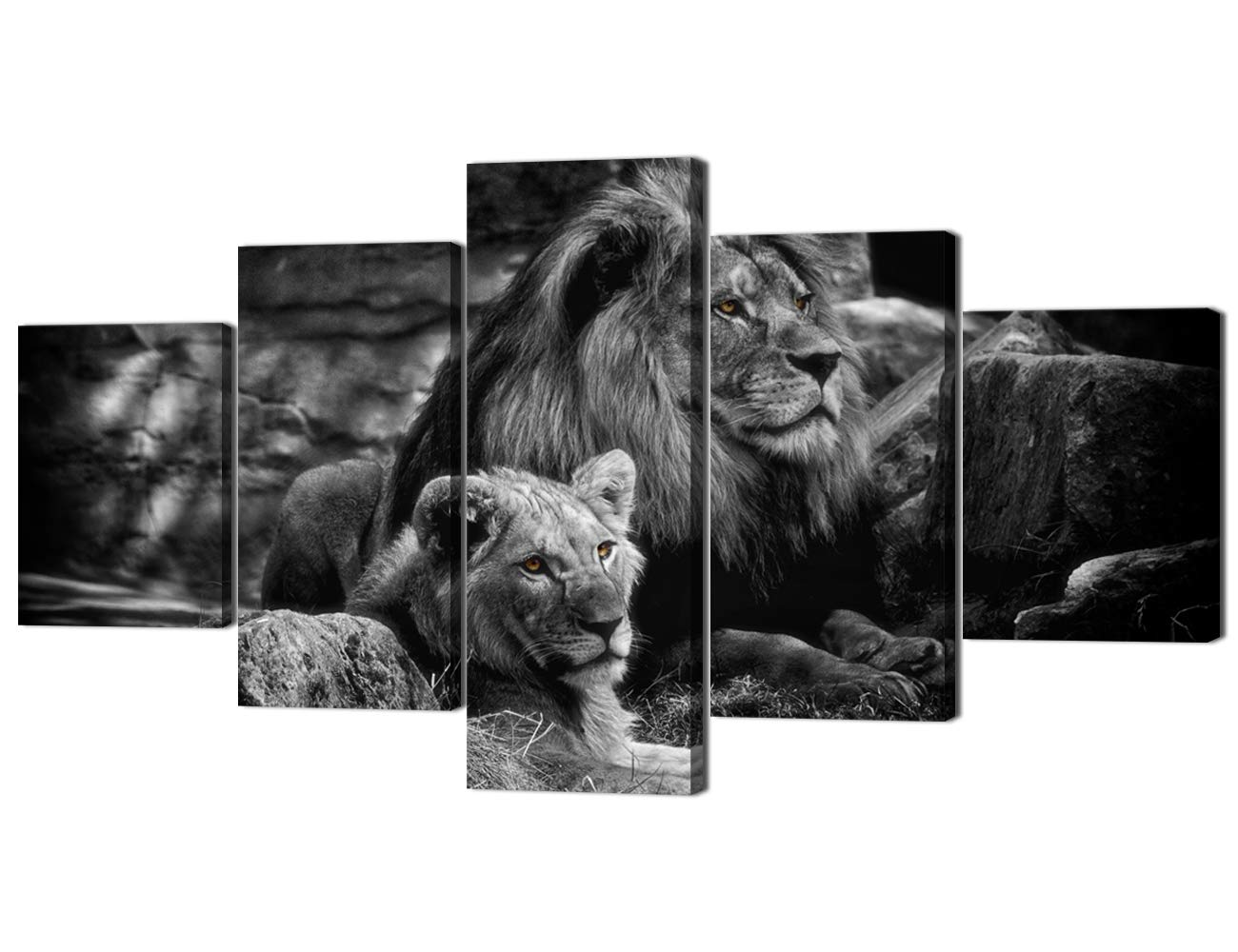 Artwork-01 60''W x 32''H Yatsen Bridge Framed Lion Pictures Wall Decor Modern 5 Panels White Black Lions Canvas Wall Art Easy to Hang Animal Posters for Living Room Bedroom Decor - 60''W x 32''H