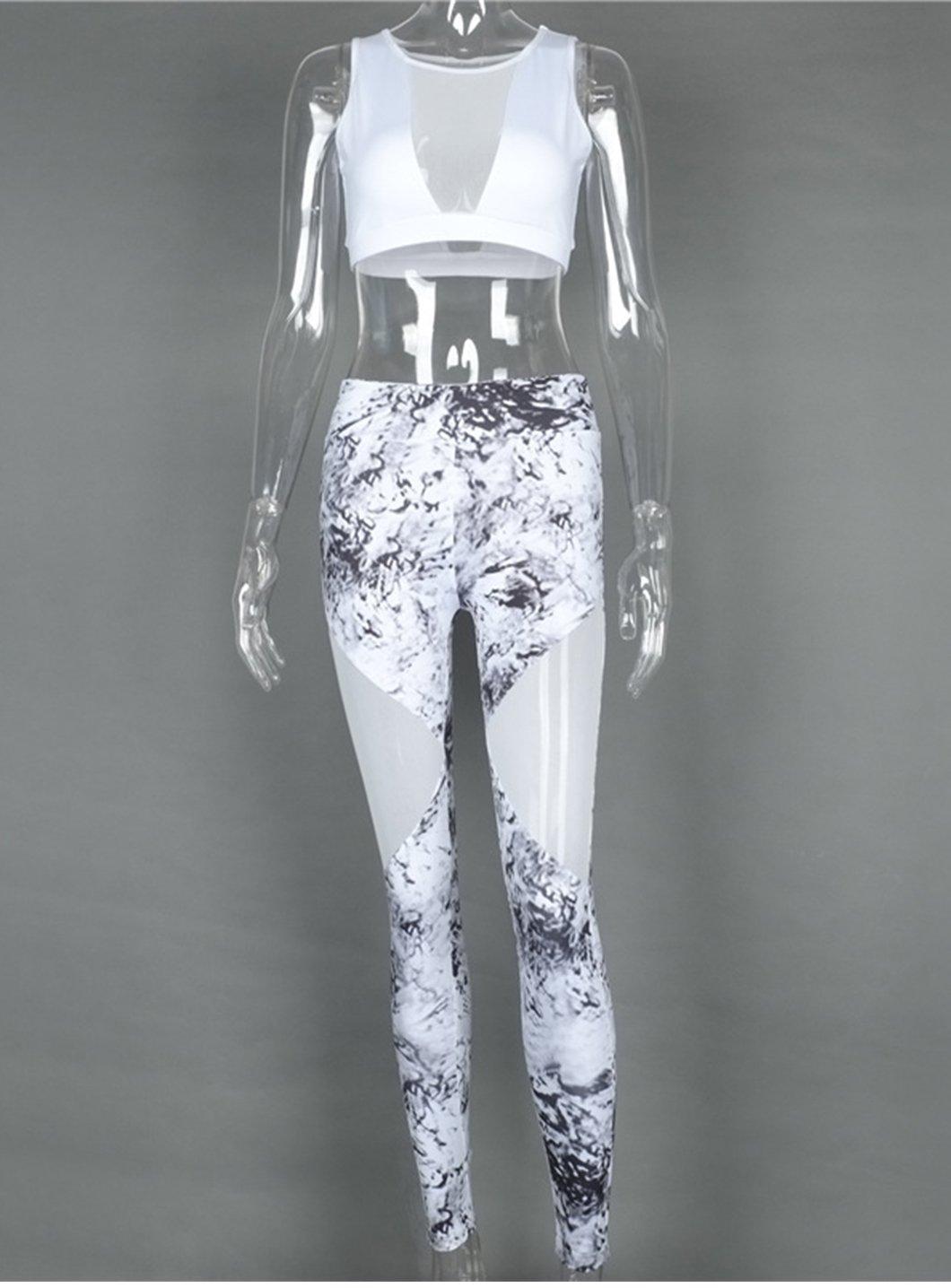Trainingsanzug für Frauen floral Print Mash Patchwork 2-teilig Yoga Frauen zugeschnitten BH + Lange Hose Fitness Sport Suit Damen Kleidung
