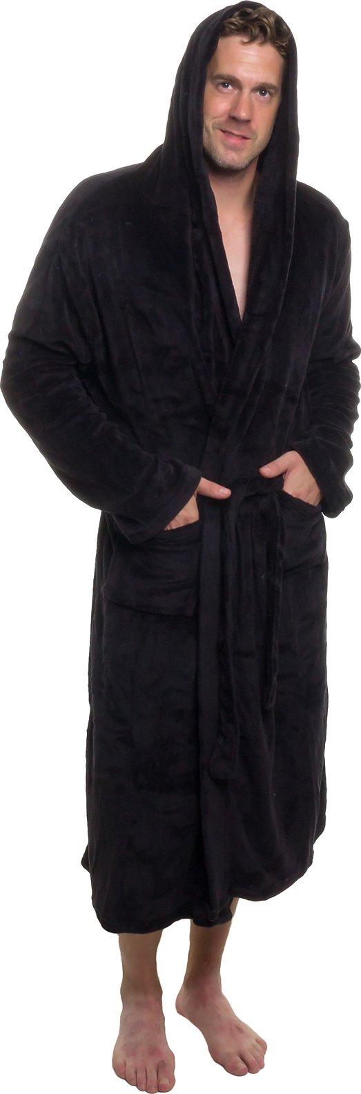 Ross Michaels Mens Hooded Robe - Plush Shawl Kimono Bathrobe (Black, XXL) by Ross Michaels (Image #1)