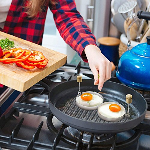 Egg Poacher Steel Set of - Cooking Pancakes Burgers Omelettes Eggs Fried a Master Chef The Surgical Egg Round Molds Life