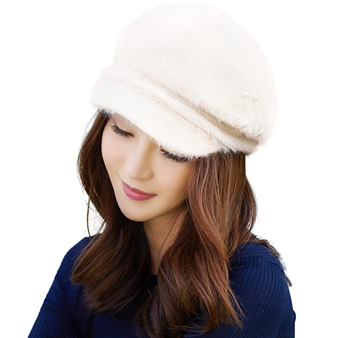 73a4d0bef4e SIGGI Newsboy Cap Women Rabbit Fur Winter Hat Ladies Visor Beret Cloche Hats  Cold Weather Hat Lined White  Amazon.ca  Clothing   Accessories