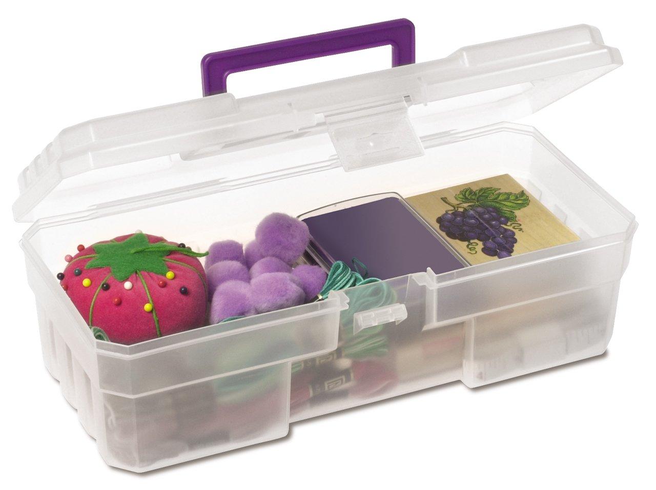 Akro-Mils 09912 CLPUR 12-Inch Plastic Art Supply Craft Storage Tool Box, Semi-Clear 09912CLPUR