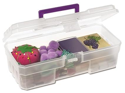 Akro Mils 09912 CLPUR 12 Inch Plastic Art Supply Craft Storage Tool Box,