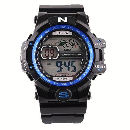 Hombre al aire libre impermeable de los deportes relojes militares Digital Display con brújula/alarma