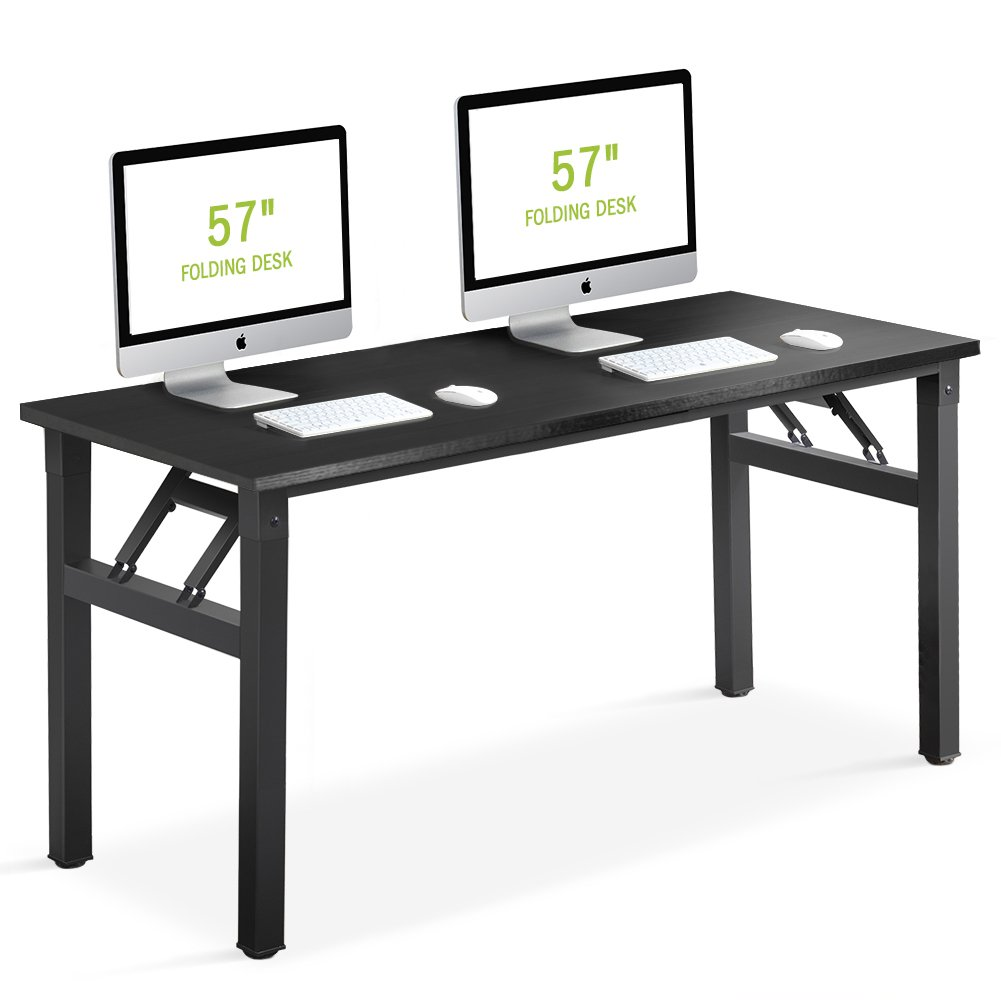 Folding Desk, Tribesigns 57 inch Computer Office Desk Workstation No Assembly Required, for Home Office Use (Black)