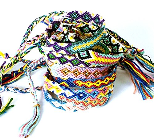 TECH-P Hand-Made Nepal Style Woven Friendship Bracelets – 8 Pack Different Pattern