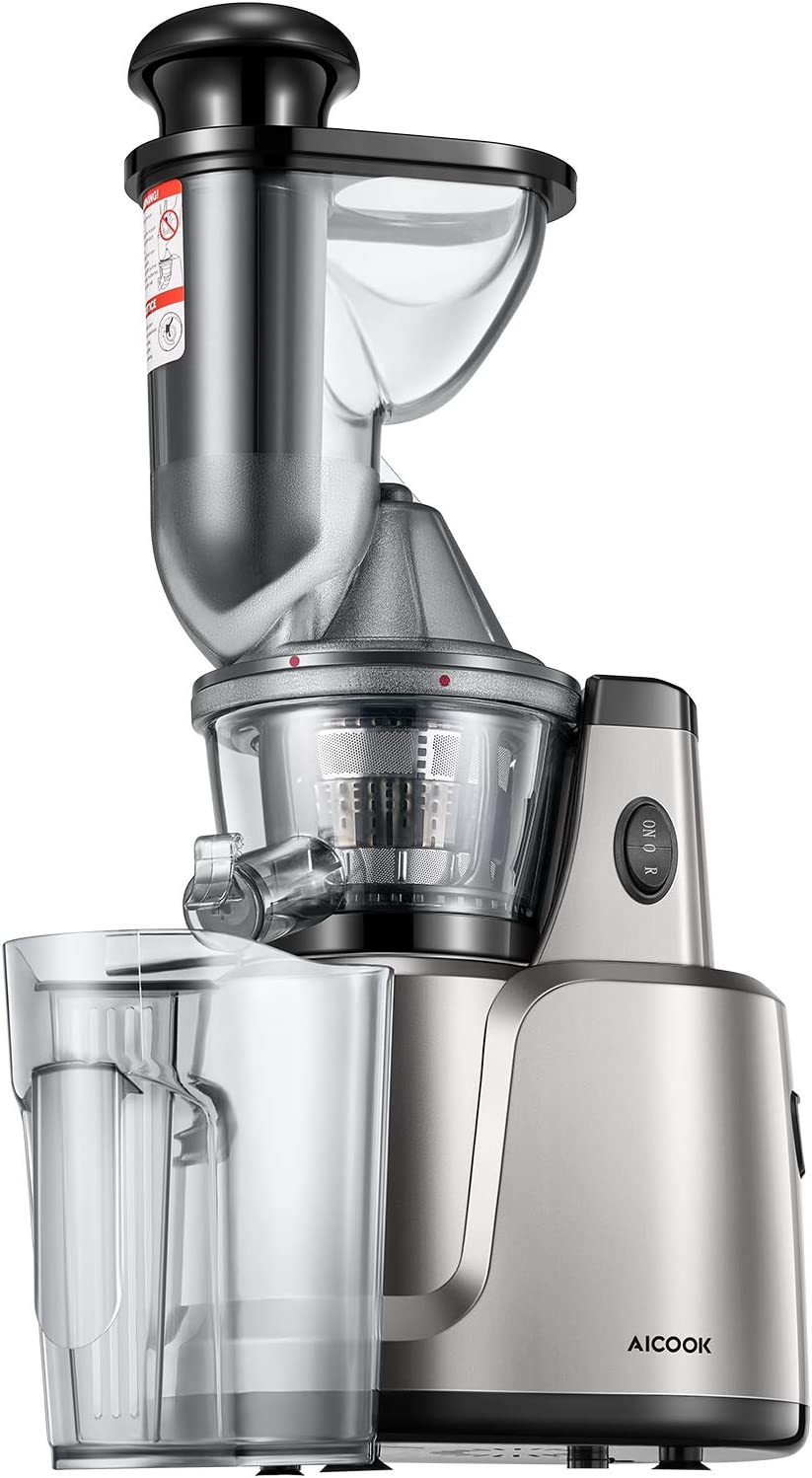 Juicer Machines, Aicook Slow Masticating Juice Extractor Easy to Clean, 3 Filters for Fruits, Vegs, Baby Food, and Smoothies, Quiet Motor, Pre-cleaning, and Reverse Function, Non-Slip Feet 61gOlytrnuLSL1500_