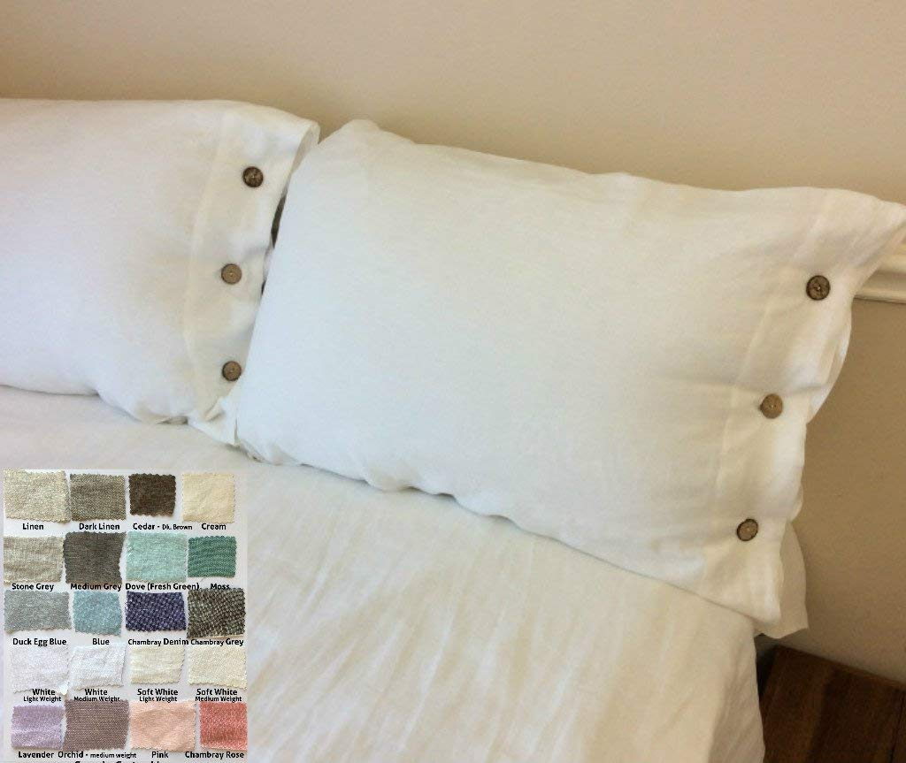 Natural Linen Duvet Cover with Wood Button Closure, White, Grey, Pink, Blue, Stripe, Chevron, over 40 color/patterns, Custom Size, Free Shipping