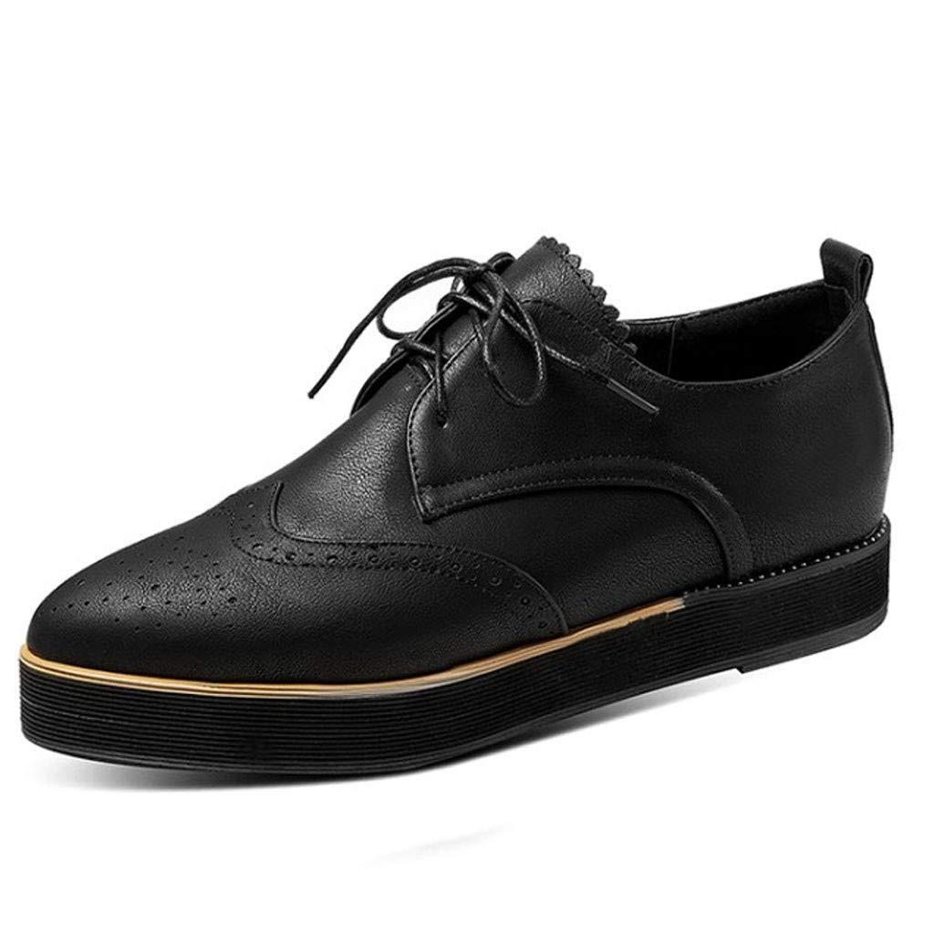 Kauneus♕ Womens Leather Shoes Flat Lace Up Oxfords Derby Shoes England Vintage Brogue Thick Bottom Cutout Roman Shoes Black by Kauneus Fashion Shoes