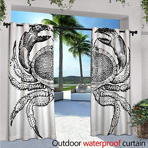- Crabs Indoor/Outdoor Single Panel Print Window Curtain Seafood Themed Design Vintage Engraved Illustration of an Edible Crab Print Silver Grommet Top Drape W108 x L96 Black and White