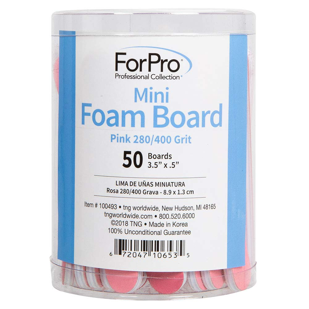 "ForPro Pink Mini Foam Board, 280/400 Grit, Double-Sided Manicure Nail File, 3.5"" L x .5"" W, 50-Count"