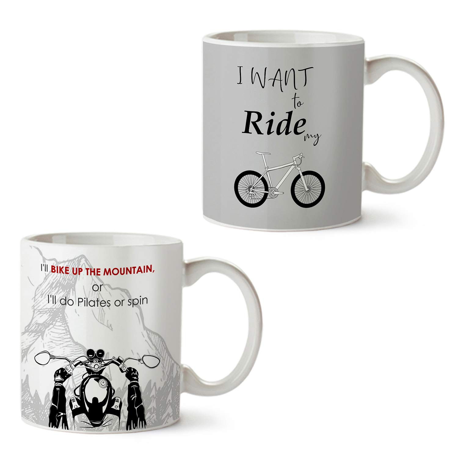 Buy Zebo Trend White Ceramic Printed Coffee Mug With Mountain Adventure With Bike For Travel Lover I Want To Ride My Cycle Funny Quotes Printed Designed Combo Set Of 2