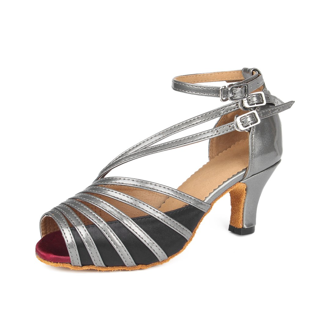 Grey 2.36  Lanpet Dance shoes for Women Satin Salsa Latin Tango Ballroom Dancing Class shoes High Heels
