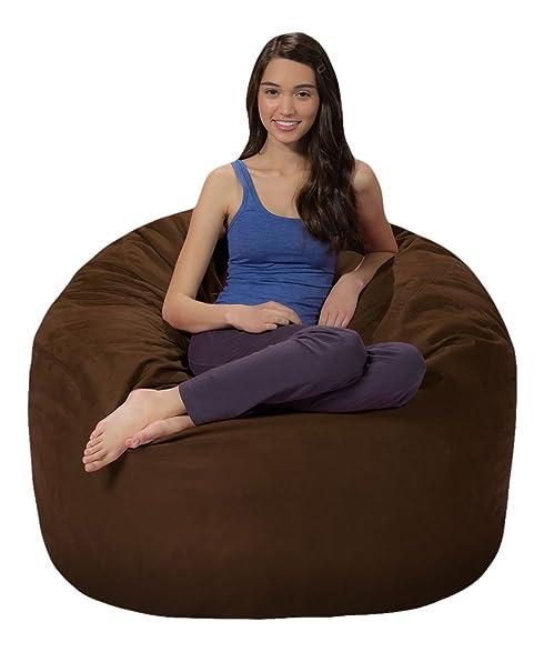 Comfy Sacks 4 Ft Memory Foam Bean Bag Chair Chocolate Microsuede
