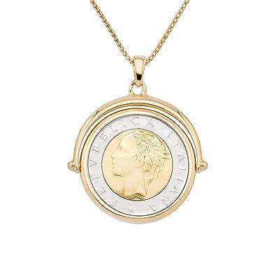 8807b0a69 MiaBella 18K Gold Over Sterling Silver Genuine 500 Lira Coin Flip Pendant  Necklace for Women,
