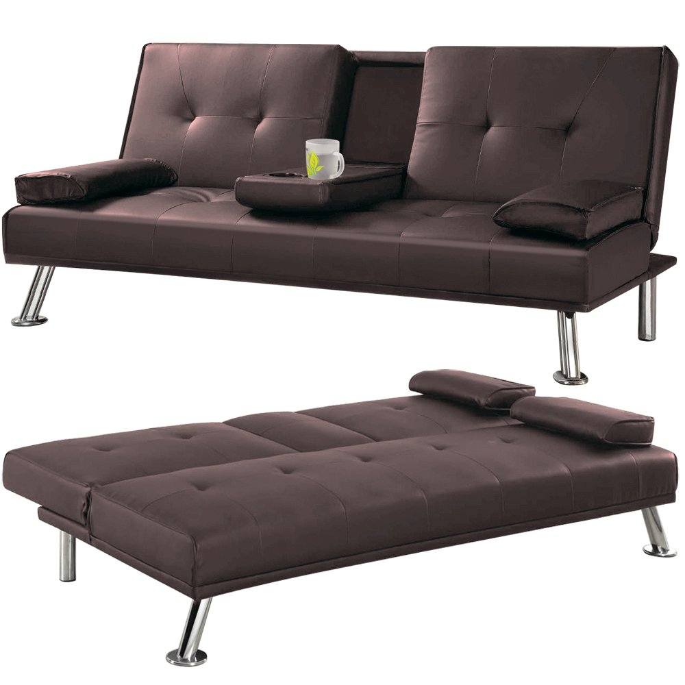 Cheap Faux Leather TV Cinema Sofa Bed on Chrome Legs with Pull
