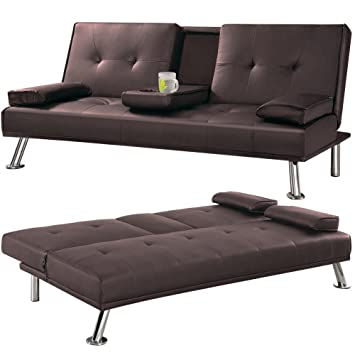 Ordinaire Cheap Faux Leather TV Cinema Sofa Bed On Chrome Legs With Pull Down Drinks  Holder By