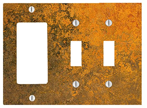Marble Orange Pattern Texture Background 3 Gang, 2 Toggle, 1 Dimmer, Decorator Electrical Switch Wall Plate (6.56 x 4.69in)
