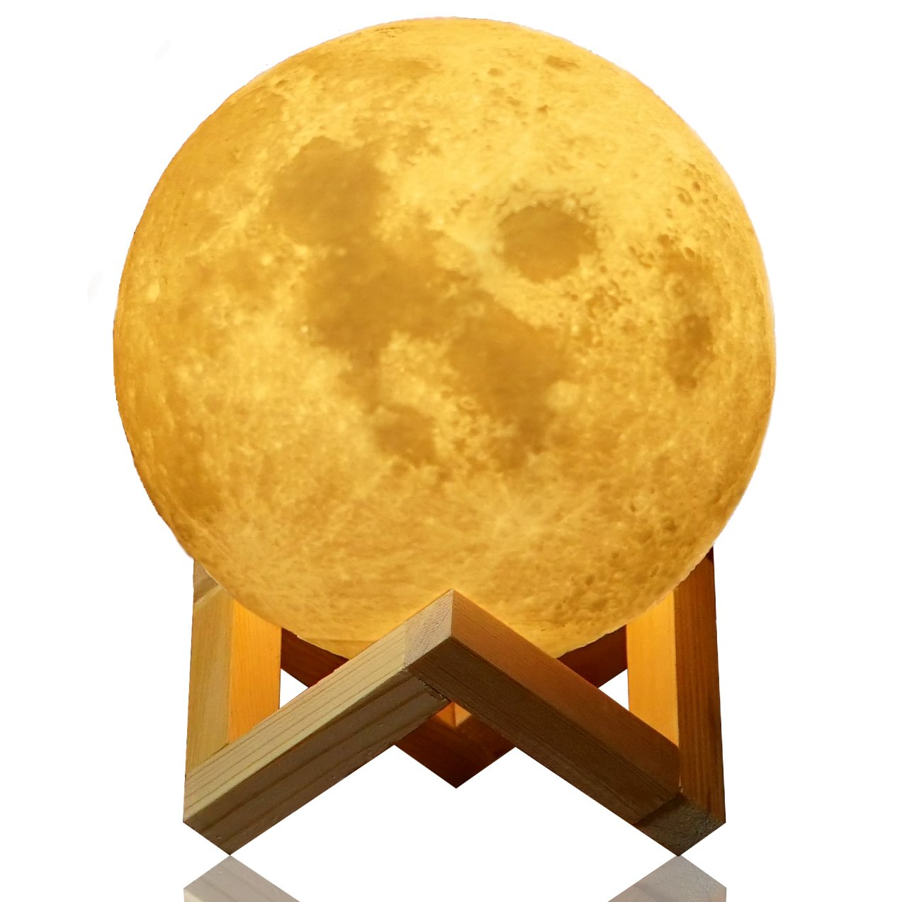 Extra Large Moon Lamp Lighting Night LED 3D Printing Warm Cool White Dimmable Touch Control Brightness USB Charging Rechargeable light Home Decorative for Baby kids gift wooden stand 18cm (7.3Inch)