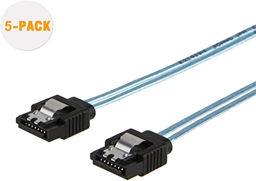 5-Pack 18-inch 6.0 Gbps 7pin Female To Data With Locking Latch, SATA III Cable