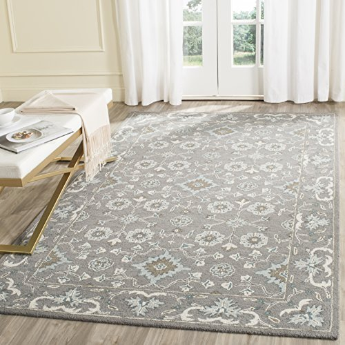 (Safavieh Blossom Collection BLM218A Handmade Grey Premium Wool Area Rug (4' x 6'))
